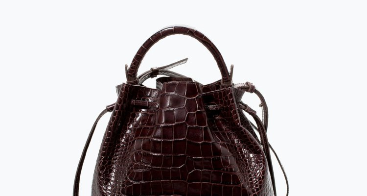 zara, croc leather bucket bag, zara croc bag. her source vices, the source magazine,