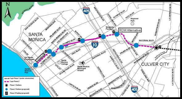 The proposed route for the second phase of the Expo Line from Culver City to Santa Monica
