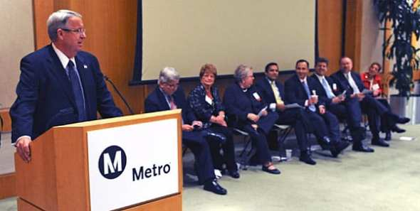 Los Angeles County Supervisor and Metro Chairman Don Knabe leads transportation panel at Cerritos Library. From left, Metro CEO Art Leahy, Lakewood City Councilwoman Diane Dubois, Santa Monica City Councilwoman Pam O'Connor, FTA / FHWA team leader Ray Tellis, and Metro staff members Raffi Hamparian, Michael Turner, Doug Failing and Renee Berlin. Photo by Juan Ocampo