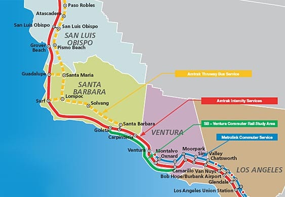 A number of rail services operate on the LOSSAN North corridor. Amtrak's Pacific Surfliner (operated with state funding) is the primary intercity passenger rail service, and runs between San Luis Obispo, Santa Barbara, Ventura, and Los Angeles (with additional service to Orange County and San Diego). Amtrak's Coast Starlight (service between Los Angeles, the Bay Area, and Portland/Seattle, in addition to stops within the LOSSAN North corridor) also operates on the corridor. Commuter rail service between Los Angeles and Ventura is provided by Metrolink. UP operates freight and goods movement service along the corridor.