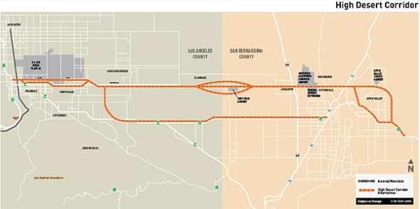 Illustration: High Desert Corridor alternatives represented by orange dotted lines. (metro.net/hdc)