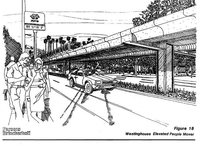 Proposed Westinghouse elevated people mover, 1988