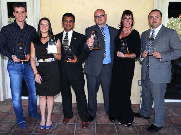 From left, Golden Pylon Award winners Sean Murphy (NBC4 Today in L.A.), Dianna Olea standing in for winner Ryan Duggan (KRLA), Larry Barajas (KNX and KRTH), Scott Burt (KNX, KFWB, KOLA) , Kajon Cermak (KCRW), and CHP Officer Luis Mendoza. Photos by Juan Ocampo.