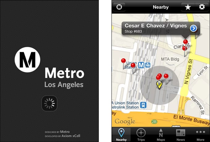 Go Metro V2 (iPhone) - Launch and Nearby screen