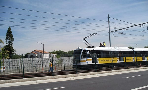 Expo test train, pushed by high-rail truck, performs clearance testing on westbound track near Hayden Boulevard. Photo submitted from Hello Expo Facebook page by Friend of Expo.