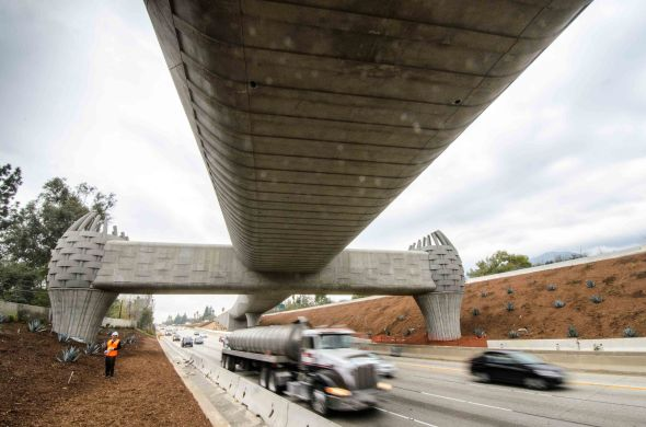 A view of the bridge looking west, where the Foothill Extension tracks will run in the freeway median. Photo by Steve Hymon/Metro.