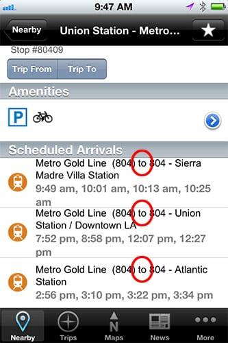 GoMetro iPhone Station Detail