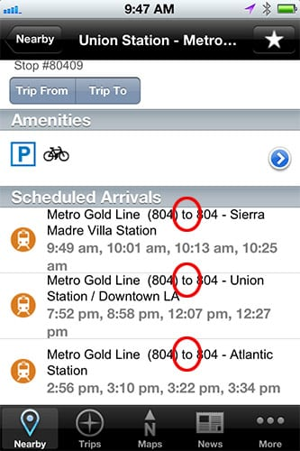 GoMetro iPhone Station Detail