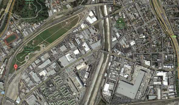 A Google Maps view of the approximate area under the influence of the new Cornfield Arroyo Seco Specific Plan.