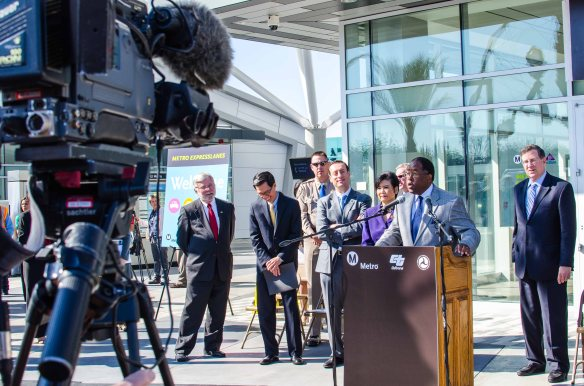 Supervisor Mark Ridley-Thomas speaks at this morning's event. At right is Duarte Councilman and Metro Board Member John Fasana, who served as M.C. for the event. From left that's Metro CEO Art Leahy, Assemblyman Ed Chau, Assemblyman Roger Hernandez and Rep. Judy Chu. Also present for the event but not in this photo were L.A. Mayor Antonio Villaraigosa and Rep. Grace Napolitano. Photo: Steve Hymon/Metro.