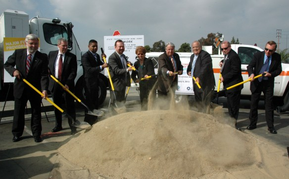 Public officials at the groundbreaking this morning including Metro Board Members Diane DuBois and Don Knabe in the center of the frame. Photo by Luis Inzunza/Metro.