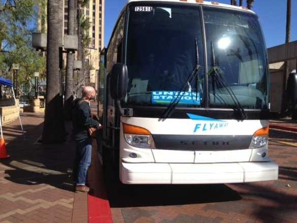 FlyAway bus at Patsaouras Plaza/Union Station