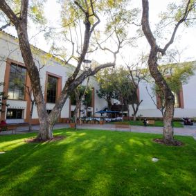 There are two nice courtyards. This is the north one that has outdoor seating for Traxx.