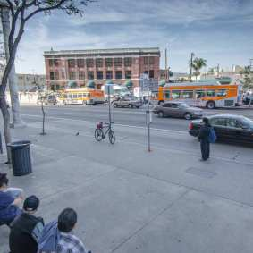 The bus stop at Cesar Chavez and Vignes has more boardings than the transit plaza.