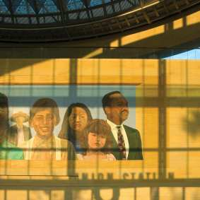 The mural inside the Patsaouras Transit Plaza. Photograph courtesy of Metro. ©2013 LACMTA