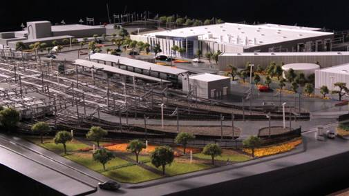 A model of the new operations campus in Monrovia. Image: Gold Line Foothill Extension Construction Authority.