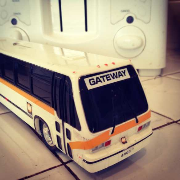 ART OF TRANSIT: My awesome new Metro bus piggy bank navigates the kitchen counter. A friend found this in her office and gifted to yours truly. Prepare yourselves dear readers: giant yellow lab toys with bus photos are just a matter of time. Photo by Steve Hymon/Metro.