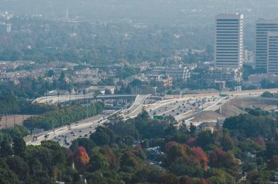 A view of the new ramps as seen from the Getty Center. Photo by Steve Hymon/Metro.