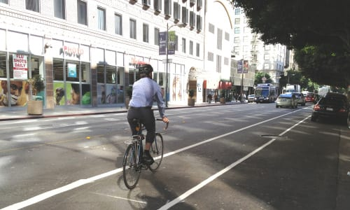 A test spin on the new portion of the 7th Street bike lane in DTLA. Photo: LADOT Bike Blog.