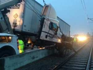 Photo of the overturned big rig on the 210 freeway earlier this morning. Photo: Metro