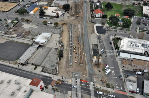 Early in the year, work continued on the Gold Line Foothill Extension. This was a view of the new platforms at the downtown Azusa station along with the newly realigned freight track. Photo: Metro Gold Line Foothill Extension Construction Authority.