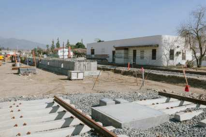 Tracks being installed next to the old Santa Fe depot in downtown Azusa.