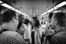 """The first ever """"Speed Dating on the Red Line"""" was held on Valentine's Day and was a big hit with riders, Source readers and the media. Photo by Steve Hymon/Metro."""