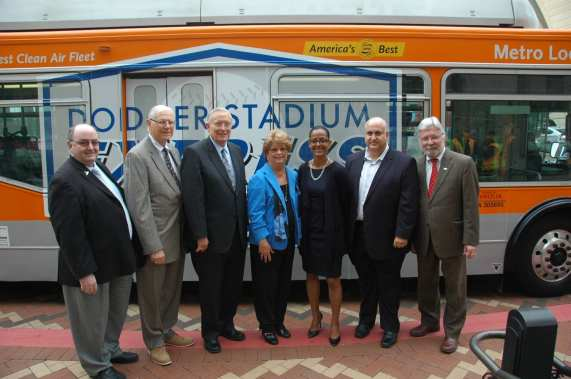 From left, Gregg Pettis of the MRC, Supervisor Michael D. Antonovich, Metrolink Board Chairman Larry McCallon, Metro Board Chair Diane DuBois, Dodgers Senior VP for External Affairs Renata Simril, LADOT engineer Aram Sahakian, Metro CEO Art Leahy. Photo by Luis Inzunza/Metro.