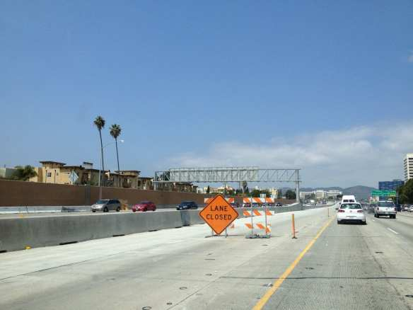 Earlier lane preparation work on northbound carpool lane in West L.A.