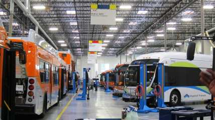 To the left, new buses from St. Cloud. To the right, older buses brought in for service maintenance.
