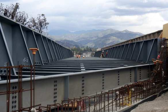 ART OF TRANSIT: Looking north to the San Gabriel Mountains from the bridge that will carry the Gold Line Foothill Extension over Foothill Boulevard in Azusa. Awesome photo by Gold Line Foothill Extension Construction Authority.