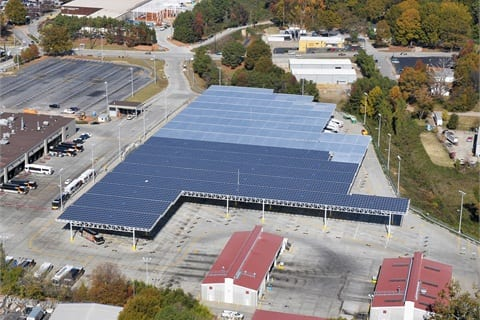 Solar Canopies produce green energy and shade buses at MARTA's Decatur garage.