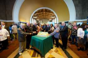Metro dignitaries and Union Station's 75th anniversary cake. Photo by Gary Leonard for Metro.