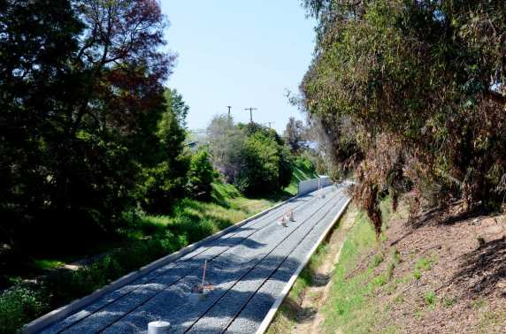 The tracks in the trench that runs between the Santa Monica Freeway and Overland Avenue in Cheviot Hills.