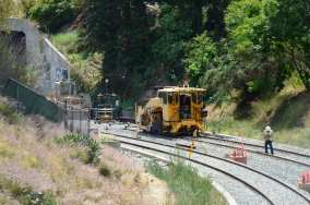 Another view of track work in the trench.