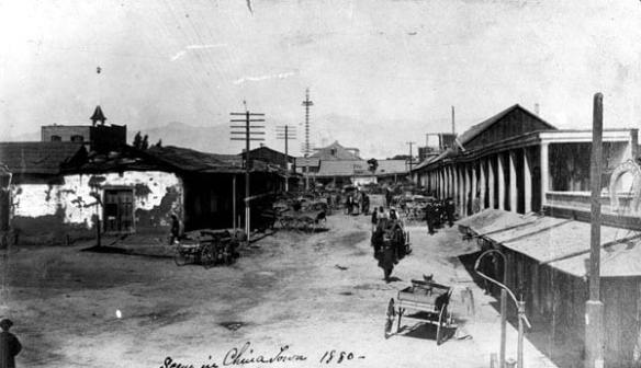 Calle de los Negros, scene of the 1871 Chinese Massacre, ca 1880. Courtesy of the Seaver Center for Western History Research, Natural History Museum of Los Angeles County.