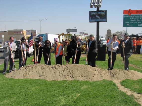 Local city officials breaking ground on the Hawthorne Boulevard Mobility Improvement Project.