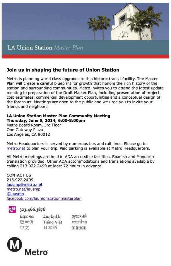 Special Briefing – LA Union Station Master Plan Update