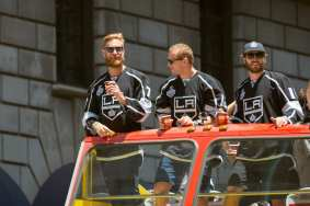 From left, Jeff Carter, Marian Gaborik and Mike Richards.