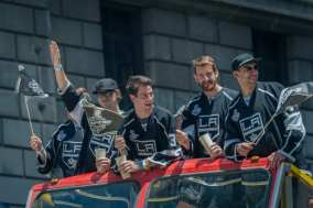 From left: Tyler Toffoli, Martin Jones, Robyn Regehr and Dwight King.