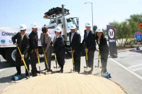 A groundbreaking for the I-10 HOV lane project in Baldwin Parks and West Covina -- one in a series of projects to build a continuous HOV lane between downtown L.A. and I-15. Photo: Paul Gonzales/Metro.