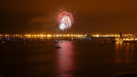 Fireworks over the Queen Mary and Long Beach in 2011. Photo by Marjorie, via Flickr creative commons.