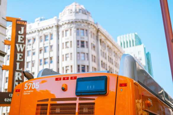 ART OF TRANSIT: A Metro local bus in downtown Los Angeles. Photo by Steve Hymon/Metro.