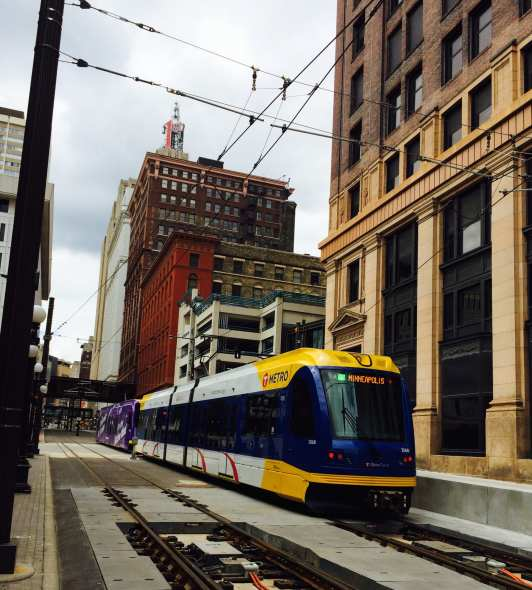 Green Line train to Minneapolis in downtown St. Paul. (Photo: Joseph Lemon/Metro)