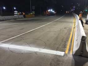 New striping on the roadway completed Sunday night.