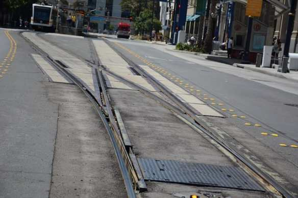 The track switch near Downtown Long Beach Station will be moved so trains can run more reliably. Photo: Anna Chen/Metro