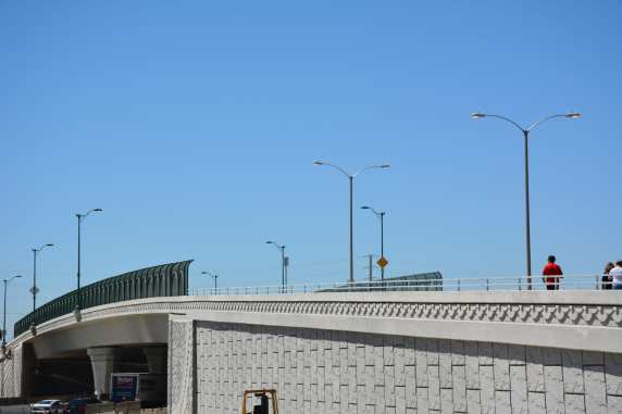 The newly opened Alondra Boulevard Bridge in August; the bridge was rebuilt as part of Caltran's and Metro's I-5 widening project.