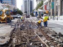 Track was replaced in downtown Long Beach in September 2014 as part of the Better Blue Line project. Photo by Anna Chen/Metro.