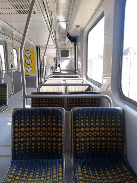 The interior of the new rail car, part of a base order for 78 vehicles that will be used on the Expo Line and Gold Line Foothill Extension. Photo: Juan Ocampo/Metro.
