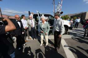 Azusa Mayor Joseph Rocha, Foothill Gold Line Board Chair Doug Tessitor and Rep. Grace Napolitano arrive at the event on Saturday.